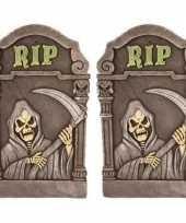 2x versiering halloween grafstenen magere hein 60 cm