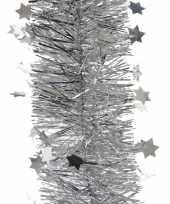 2x zilveren kerstversiering folie slinger met ster 270 cm