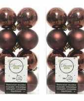 32x kunststof kerstballen glanzend mat roodbruin 4 cm kerstboom versiering versiering