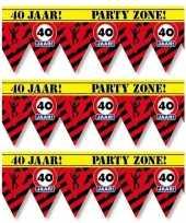 3x 40 jaar party tape markeerlinten waarschuwing 12 m versiering