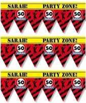3x 50 sarah tape markeerlinten waarschuwing 12 m versiering