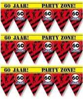 3x 60 jaar party tape markeerlinten waarschuwing 12 m versiering