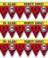 3x 70 jaar party tape markeerlinten waarschuwing 12 m versiering