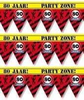 3x 80 jaar party tape markeerlinten waarschuwing 12 m versiering