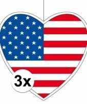3x amerika hangversiering harten 28 cm