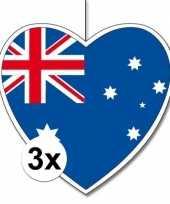 3x australie hangversiering harten 28 cm