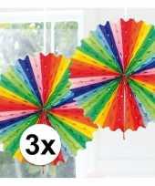 3x feestversiering regenboog kleuren versiering waaier 45 cm