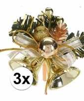3x gouden kerstklokjes kerststukjes versierings 8 cm