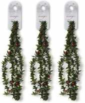 3x groene dunne kerst slingers met rode versiering 150 cm