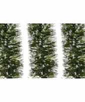 3x groene sneeuw kerstslinger 7 x 200 cm kerstboom versieringen