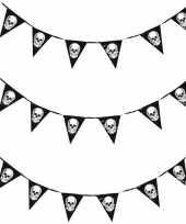 3x horror schedel vlaggenlijn slinger 360 cm halloween versiering
