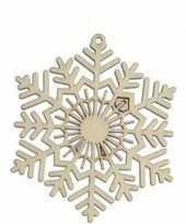 3x houten sneeuwvlok type 2 kerstversiering hangversiering 10 cm