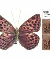 3x kerstboomversiering vlinders op clip rood bruin goud 10 cm