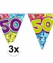 3x mini vlaggenlijn slinger verjaardag versiering 50 jaar