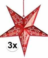 3x rode versiering sterren 60 cm