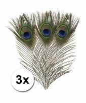 3x versiering pauwen veren hobby materiaal