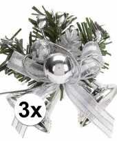 3x zilveren kerstklokjes kerststukjes versierings 8 cm