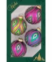 4x color splash gekleurde glazen kerstballen glitter 7 cm kerstversiering