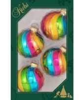 4x luxe gekleurde glazen kerstballen 7 cm kerstboomversiering