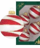 4x luxe glazen kerstballen wit rood velvet 7 cm kerstversiering