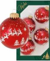 4x luxe rode glazen kerstballen met rendier opdruk 7 cm kerstversiering