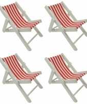 4x maritieme versiering strandstoel rood
