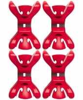 4x slingers versiering ophangen slingerklemmen rood