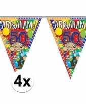 4x stuks abraham 50 jaar versiering vlaggenlijnen 10 meter