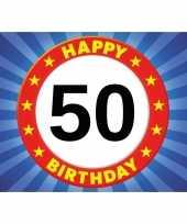 50 jaar leeftijd sticker 7 5 x 10 5 cm verjaardag versiering