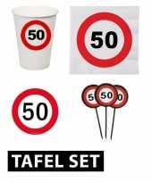 50 jaar tafel versiering pakket verkeersbord
