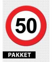 50 jarige verkeerbord versiering pakket