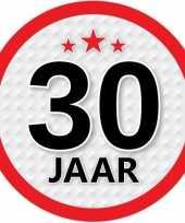 5x 30 jaar leeftijd stickers rond 15 cm verjaardag versiering