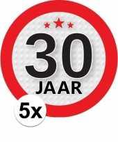 5x 30 jaar leeftijd stickers rond 9 cm verjaardag versiering