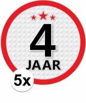 5x 4 jaar leeftijd stickers rond 15 cm verjaardag versiering