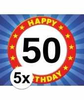 5x 50 jaar leeftijd stickers 7 5 x 10 5 cm verjaardag versiering
