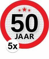 5x 50 jaar leeftijd stickers rond 9 cm verjaardag versiering
