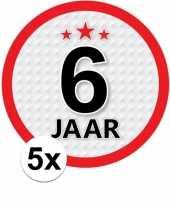 5x 6 jaar leeftijd stickers rond 15 cm verjaardag versiering
