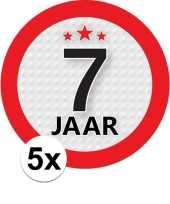 5x 7 jaar leeftijd stickers rond 9 cm verjaardag versiering