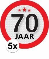 5x 70 jaar leeftijd stickers rond 9 cm verjaardag versiering