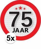 5x 75 jaar leeftijd stickers rond 9 cm verjaardag versiering