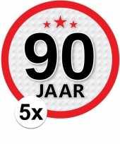 5x 90 jaar leeftijd stickers rond 15 cm verjaardag versiering