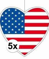 5x amerika hangversiering harten 28 cm