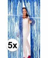 5x blauwe versiering deurgordijn