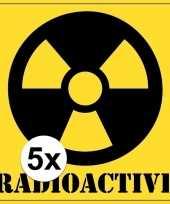 5x halloween versiering radioactief radioactive sticker 10 5 cm 10121794