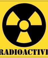 5x halloween versiering radioactief radioactive sticker 10 5 cm