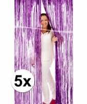 5x metallic paarse versiering deurgordijn