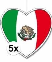 5x mexico hangversiering harten 28 cm