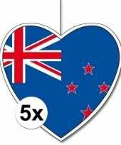 5x nieuw zeeland hangversiering harten 28 cm