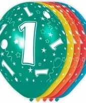 5x stuks 1 jaar thema versiering heliumballonnen 30 cm