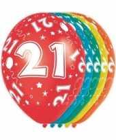5x stuks 21 jaar thema versiering heliumballonnen 30 cm